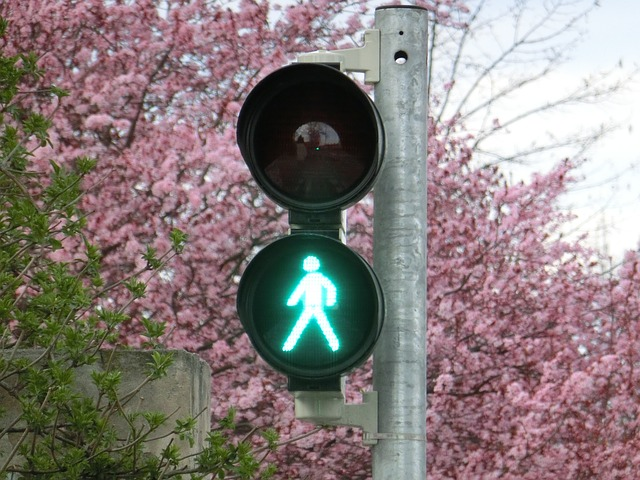 Free footbridge go traffic lights green males