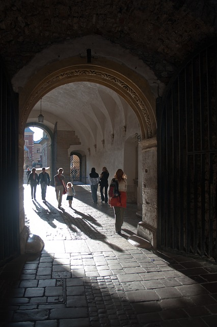 Free people gated cloister archway krakow poland