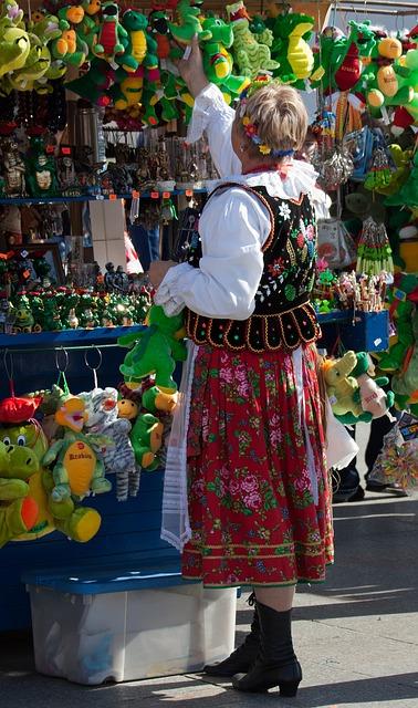 Free street market stall krakow poland national costume