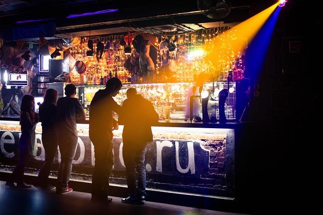 Free club bar music light people shadow address by