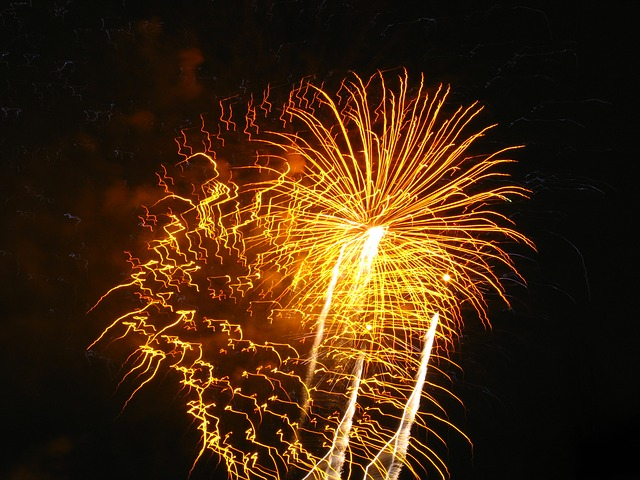 Free fireworks light orange yellow night celebration