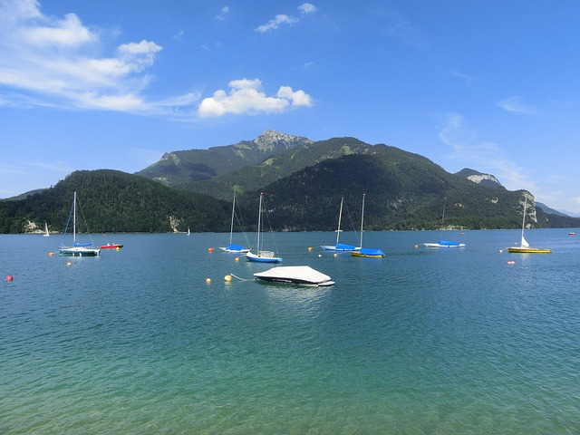 Free mondsee water mountains nice weather boats quiet