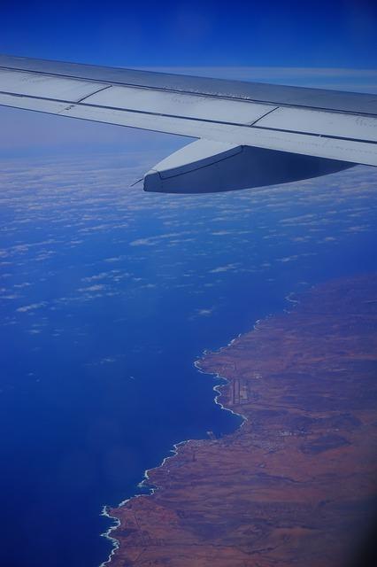 Free fly aircraft wing sea island fuerteventura