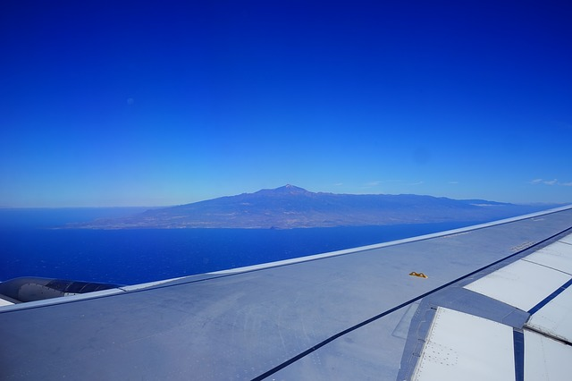 Free fly aircraft wing sky clouds blue tenerife teide