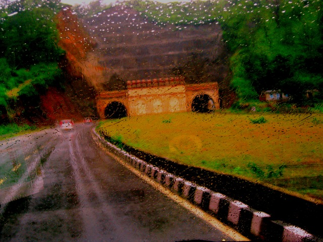 Free driving highway rain misty abstract underpass