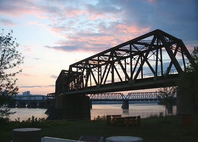 Free bridge water sunset sky river light landscape