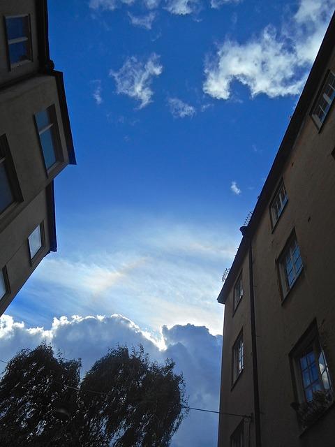 Free facade blue sky cloud södermalm stockholm