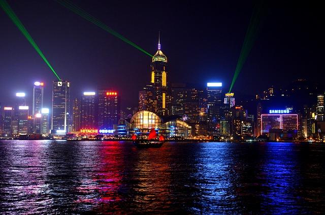 Free hong kong skyline china night city lights evening
