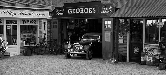 Free vintage car garage shop sign oldtimer