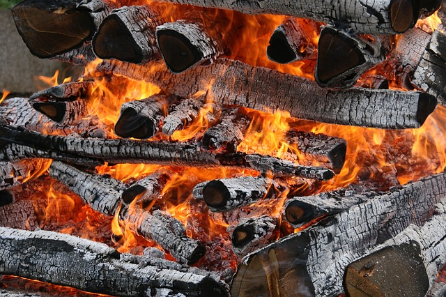 Free fire flames burning wood hot heat red yellow
