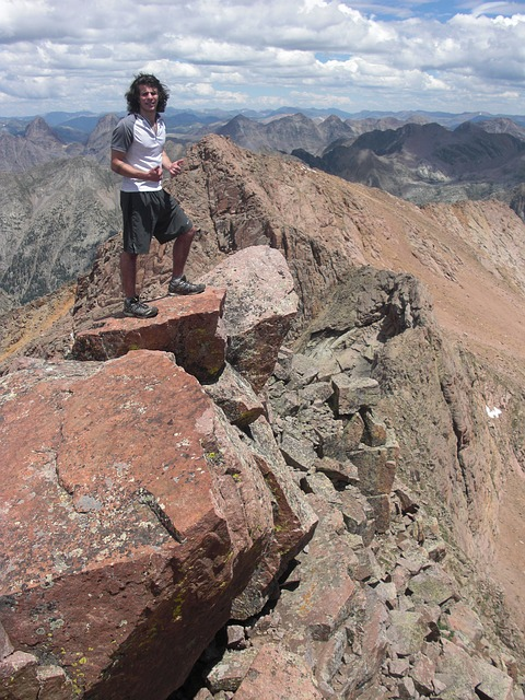 Free man mountain walking rocks person landscape