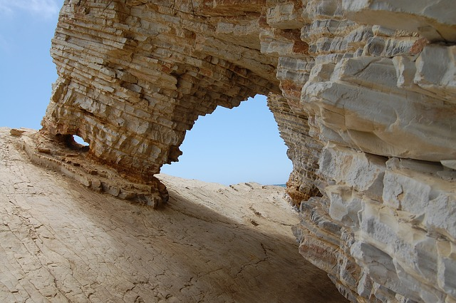 Free limestone rock arch erosion nature