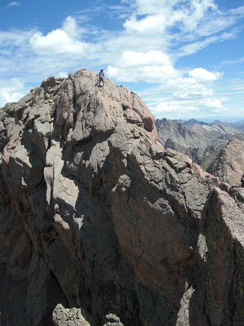 Free climbing mountain walking rocks man walker