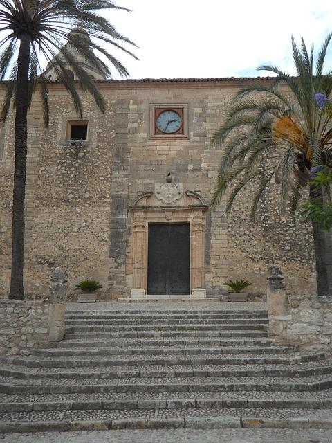 Free algaida mallorca church portal clock stony facade