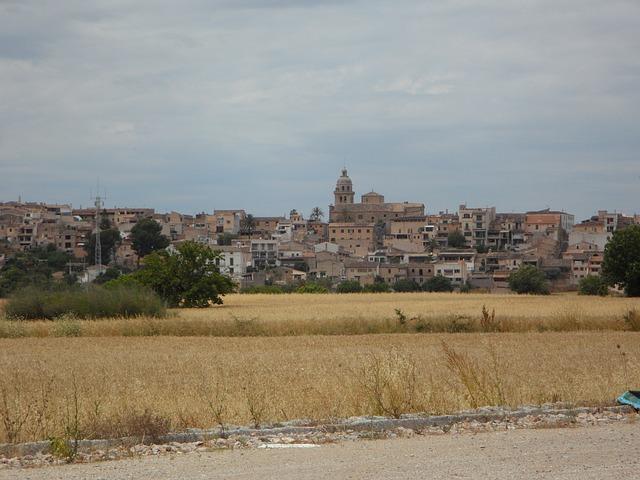 Free city view algaida mallorca mediterranean distant