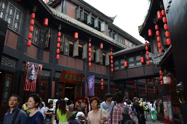 Free jin-li old street red lantern the crowd tourism