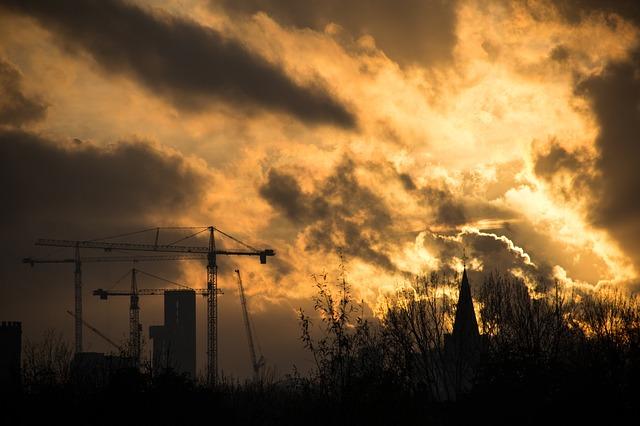 Free sunset construction crane construction site clouds