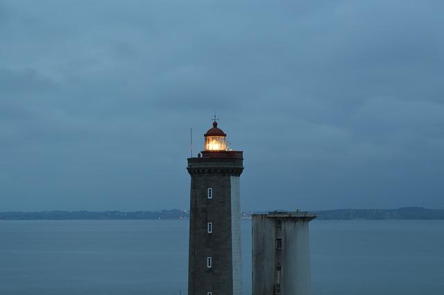 Free lighthouse brittany light sea night navigation