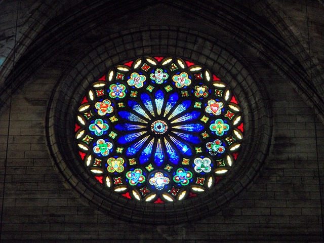 Free rosette church window stained glass color pattern