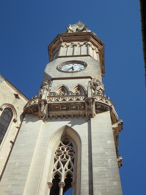 Free tower steeple clock high perspective sublime