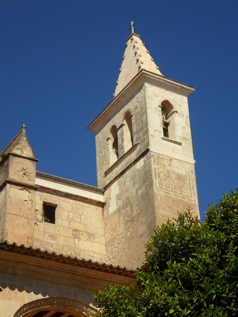 Free church manacor tower steeple monastery