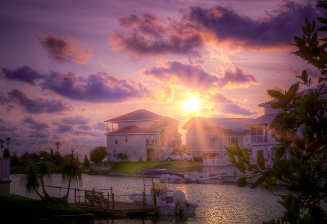Free sunset florida beach canal water travel sky