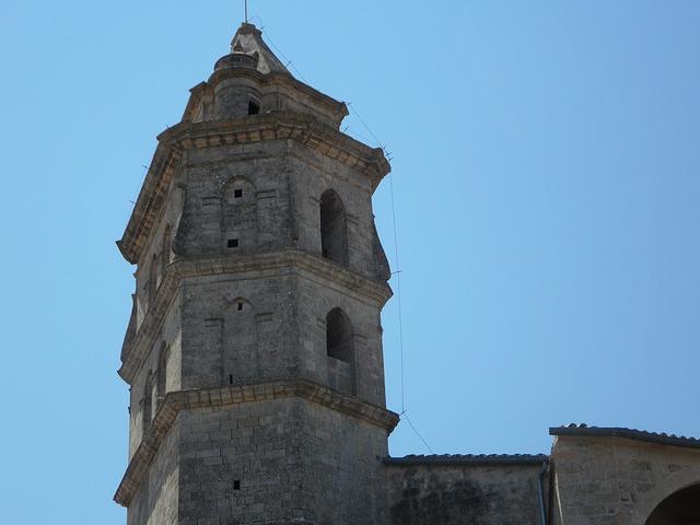 Free tower sky steeple petra church mallorca stone
