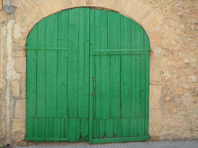 Free green door goal hinged door old input building