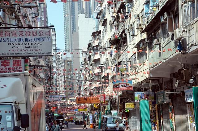 Free city crowded eng road hong kong skyscraper