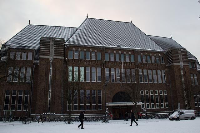 Free utrecht neude post office winter snow building
