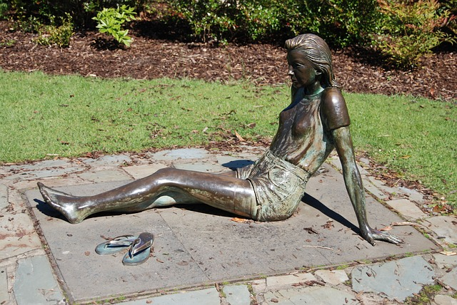 Free young woman statue bronze sitting shoes