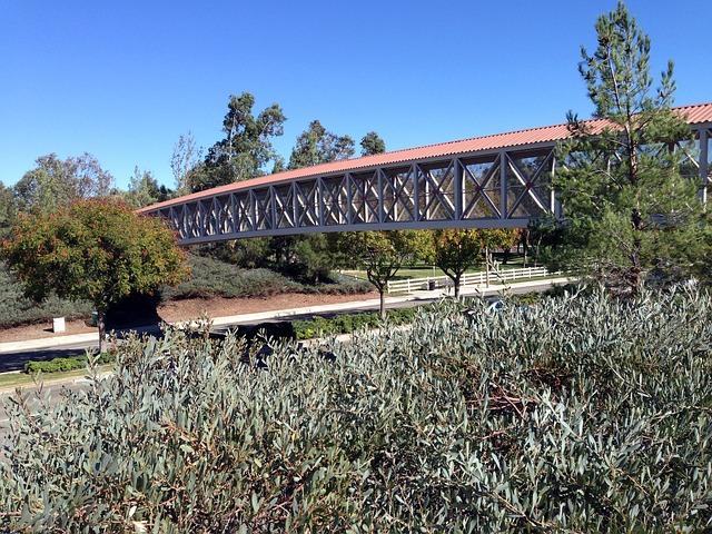 Free pedestrian-bridge foliage shrubs bushes blue sky
