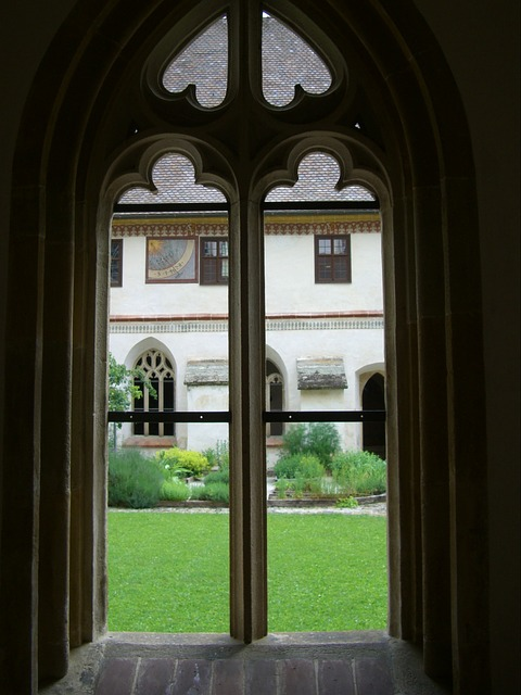 Free gothic window tracery cloister courtyard garden