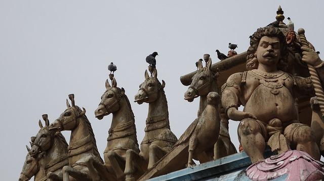 Free statue horses deities batu caves malaysia