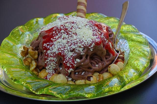 Free spaghetti ice ice schokoeis dessert ice plate