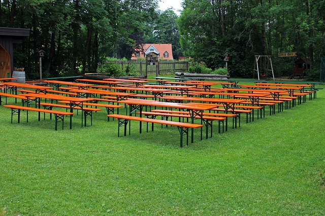 Free seat beer garden seating benches dining tables