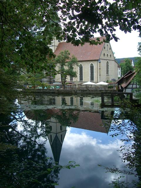 Free blautopf mirroring water blaubeuren monastery