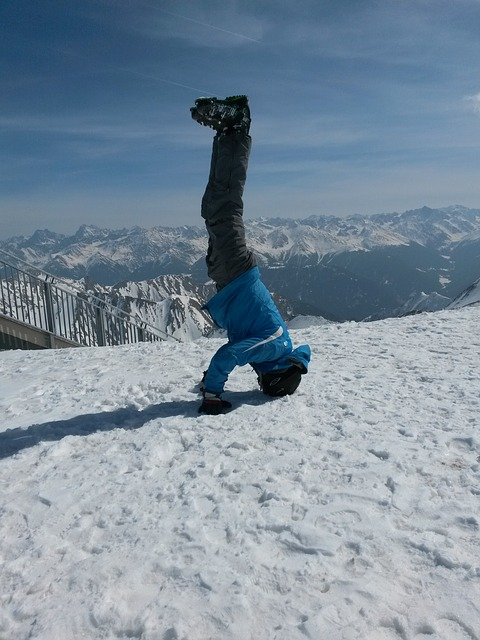 Free standing on your head handstand skiers ski area