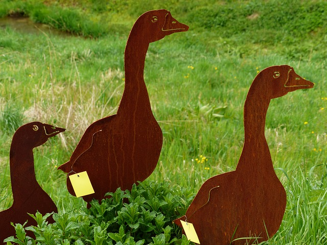 Free ducks animal metal fig sheet metal figure garden