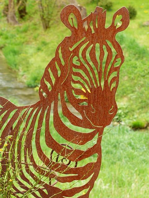 Free zebra animal metal fig sheet metal figure garden