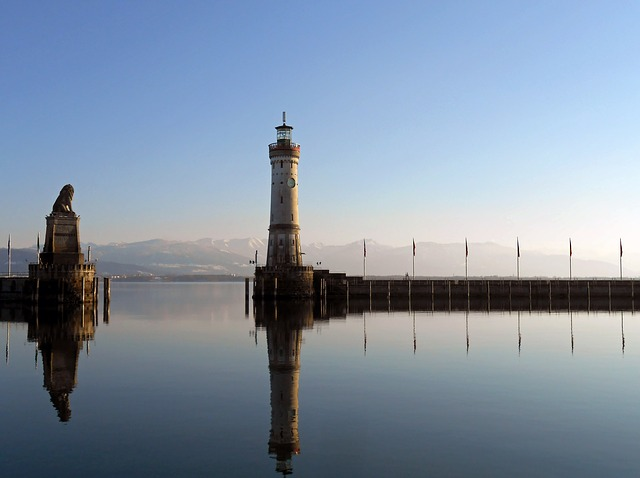 Free lindau port lake constance tower bavaria water