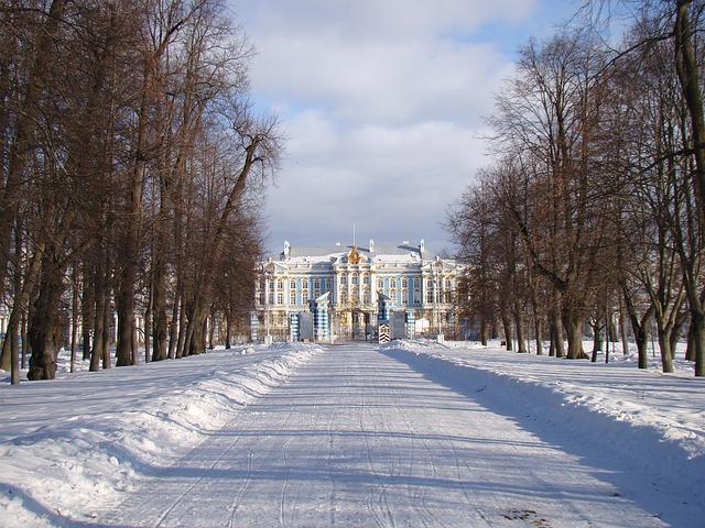 Free the palace ensemble tsarskoe selo russia alley trees