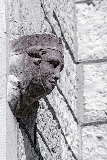 Free carved stone head old architecture carving rock