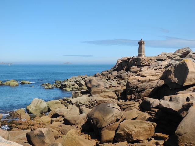 Free brittany coast lighthouse rock sea
