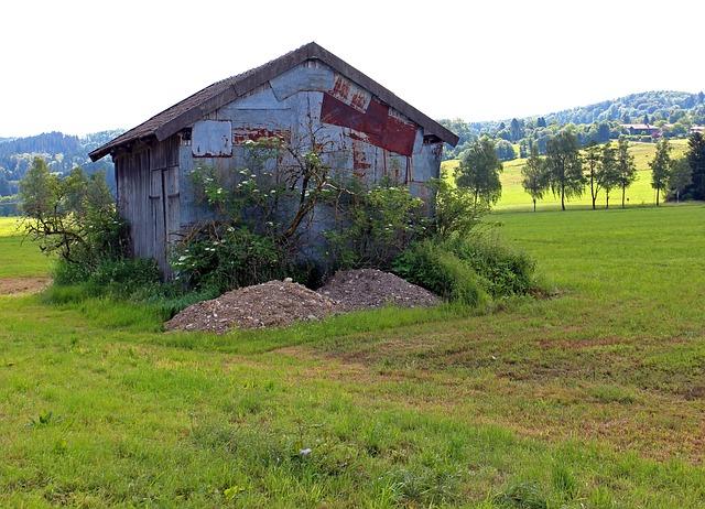 Free field barn hut meadow nature field barn old