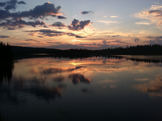 Free sunset finland lake sky reflection beautiful