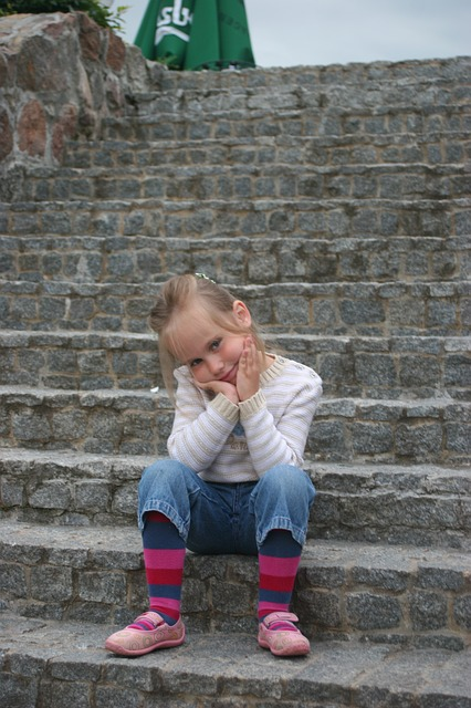 Free girl child beautiful posing summer stairs