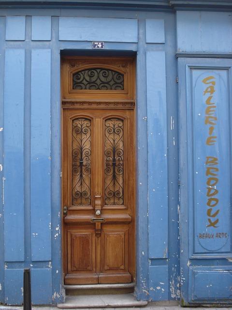 Free door wood blue store shop former antique