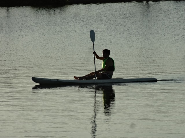 Free man kayak lake water sport kayaking activity