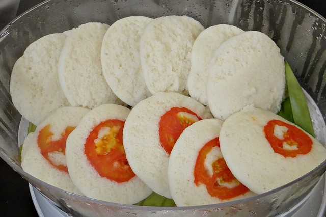 Free idli idly steamed garnished breakfast food snack